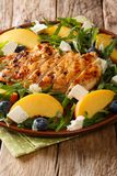 Salade de poulet grillée organique, pêches fraîches, myrtilles, arugu Photographie stock libre de droits