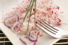 Salade de radis avec des boucles d'oignon Photographie stock libre de droits
