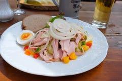 Salade de saucisse avec Bologna d'anneau, oignons, poivre et cucu mariné Photo libre de droits