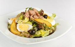 Salade de thon avec de la laitue, des oeufs et des olives noires images libres de droits