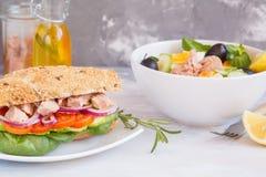 Salade de thon et sandwich à thon Photographie stock libre de droits