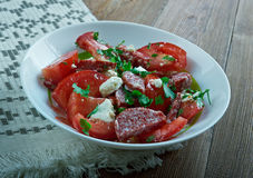 Salade de tomate de chorizo Photo stock