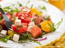 Salade de tomate et de pastèque image libre de droits