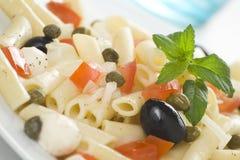 Salade de tomates de câpres d'olives de mozzarella de macaronis Photos stock