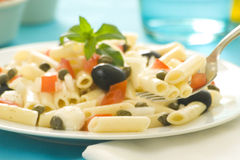 Salade de tomates de câpres d'olives de mozzarella de macaronis Photo stock