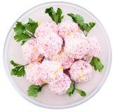 Salade des bâtons de crabe avec du maïs Photo libre de droits