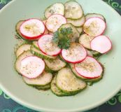 Salade des concombres et du radis Photographie stock