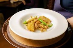 Salade des légumes et de la viande d'un beau plat blanc images stock