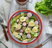 Salade des radis, des verts et des concombres d'un plat rouge Image libre de droits