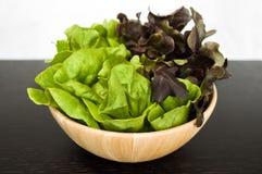(2) salade du ton deux dans la cuvette en bois sur la table en bois foncée Image stock