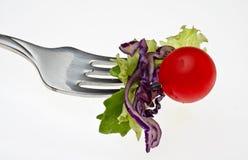 Salade en vork Royalty-vrije Stock Afbeeldingen