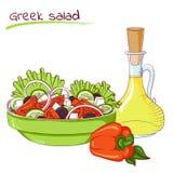 Salade et pétrole grecs Photo stock