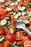 Salade et tomate de concombre Image libre de droits