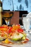 Salade et vin de citron Photos stock