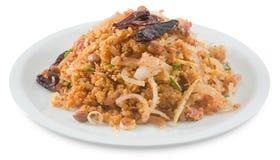 Salade fermentée thaïlandaise de porc avec du riz épicé sur le blanc photo libre de droits