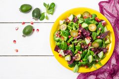 Salade fraîche avec des feuilles de concombres, de feijoa, de grenade et de salade Photographie stock libre de droits