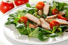 Salade fraîche avec du blanc de poulet Photo libre de droits