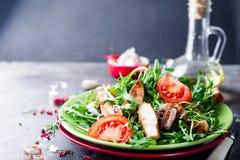 Salade fraîche avec du blanc de poulet image libre de droits