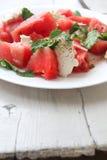 Salade fraîche avec la pastèque et le ricotta Photos stock