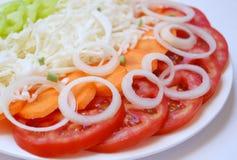 Salade fraîche avec le raccord en caoutchouc et l'oignon Photographie stock libre de droits