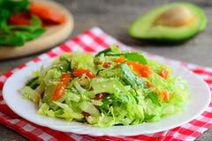 Salade fraîche d'abbage de  de Ñ avec l'avocat Avocat fait maison de salade de choux, abricots secs, arugula et sésame d'un plat Photos stock