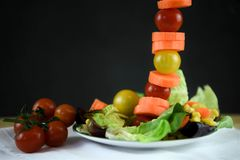Salade fraîche d'un plat avec les tomates dans une ligne verticale grande pour une image créative Images stock