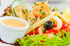 Salade fraîche de fruits de mer photographie stock