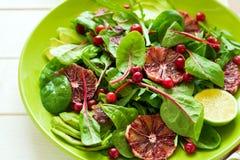 Salade fraîche de ressort avec l'arugula, les feuilles de betterave, l'avocat, les tranches oranges rouges et la canneberge Photos stock