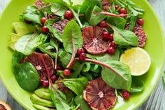 Salade fraîche de ressort avec l'arugula, les feuilles de betterave, l'avocat, les tranches oranges rouges et la canneberge Image stock