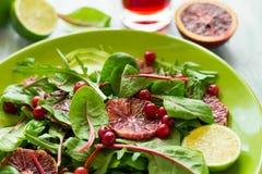 Salade fraîche de ressort avec l'arugula, les feuilles de betterave, l'avocat, les tranches oranges rouges et la canneberge Photographie stock libre de droits