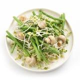 Salade fraîche de vert de haricot avec la pousse et les champignons de radis Image stock