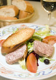 Salade française de pâté de terrine de porc de type de pays Photo libre de droits