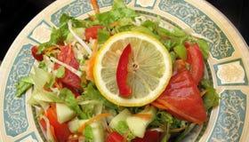 Salade gezond met verse groenten in luxe plat stock foto's