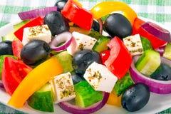 Salade grecque, recette classique, plan rapproché, macro image libre de droits