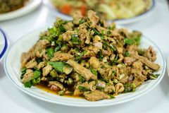 Salade grillée coupée en tranches chaude et épicée faite maison Nam Tok Moo de porc Photos libres de droits