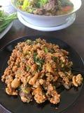 Salade hachée chaude et épicée de dinde Photo stock