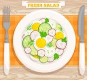Salade hoogste mening Vector illustratie Royalty-vrije Stock Afbeelding