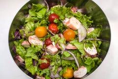 Salade juteuse d'été avec les herbes fraîches, les tomates-cerises, le calmar et l'oignon rouge Nutrition et perte de poids saine photographie stock libre de droits