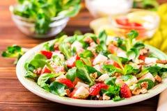 Salade met aardbei, spinazie, okkernoten en geitkaas Royalty-vrije Stock Foto's