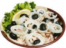 Salade met bacon, olijven en uien Royalty-vrije Stock Afbeelding