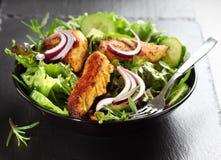 Salade met de gemarineerde strepen van de kippenborst royalty-vrije stock fotografie