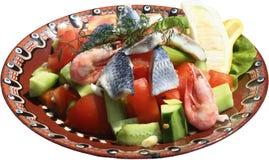 Salade met garnalen, merg en vers Stock Afbeelding