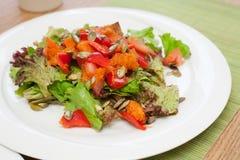 Salade met gebakken pompoen en zaden Stock Afbeelding
