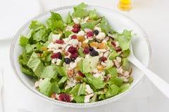 Salade met gorgonzola-kaas en droge bessen in witte kom stock afbeeldingen