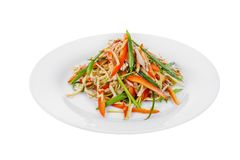 Salade met groene paprika en vlees, geïsoleerd wit stock fotografie