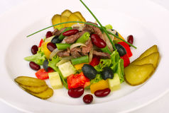 Salade met groenten en rundvlees Stock Foto