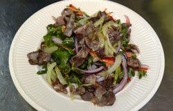 Salade met groenten en vlees op 29 September, 2016 Stock Afbeeldingen