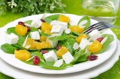 Salade met horizontale spinazie, feta en oranje close-up Royalty-vrije Stock Foto