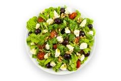 Salade met kaas op witte achtergrond Stock Foto