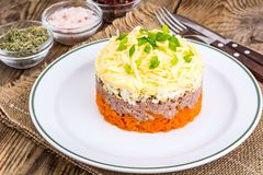 Salade met kabeljauwlever royalty-vrije stock afbeeldingen